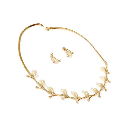 Leaf Necklace Earring Set (Gold Crystal with Cream Pearl Leaf Necklace Earring Jewelry Set)
