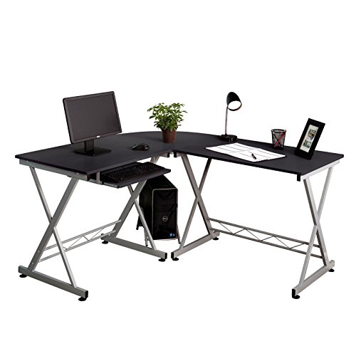 GHP L-Shape Corner Black Wood Computer Desk with Keyboard Tray & CPU Power Stand
