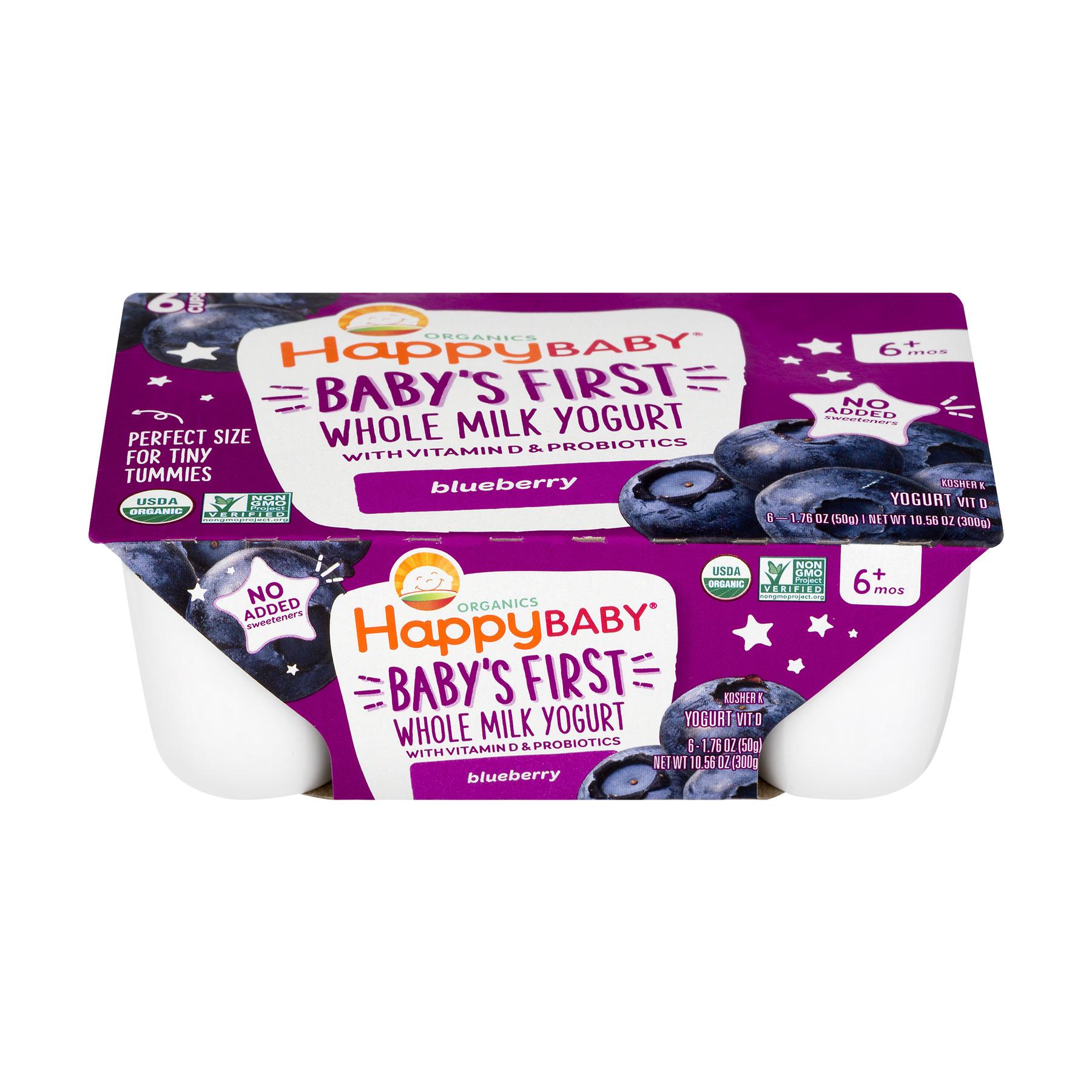 Happy Baby Organics Baby's First Blueberry Whole Milk Yogurt,1.76 Oz., 6 Cups