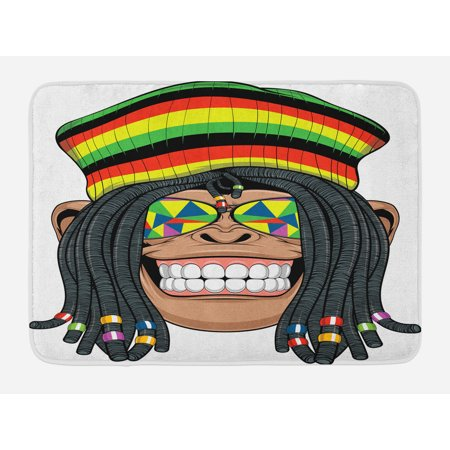 Tropical Animals Bath Mat, Portrait of Chimpanzee with Dreadlocks and Cap Hippie Musician Monkey Boho, Non-Slip Plush Mat Bathroom Kitchen Laundry Room Decor, 29.5 X 17.5 Inches, Multicolor, Ambesonne