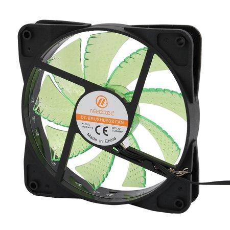 DC12V 0.26A 12Cm 4P Green 15 LED Lights 9 Blades Cooling Fan for PC Cases CPU Cooler Radiator - image 2 de 4