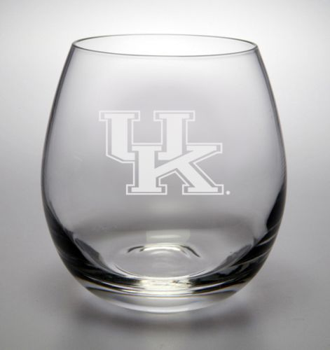 Kentucky Wildcats Deep Etched Stemless White Wine Glass