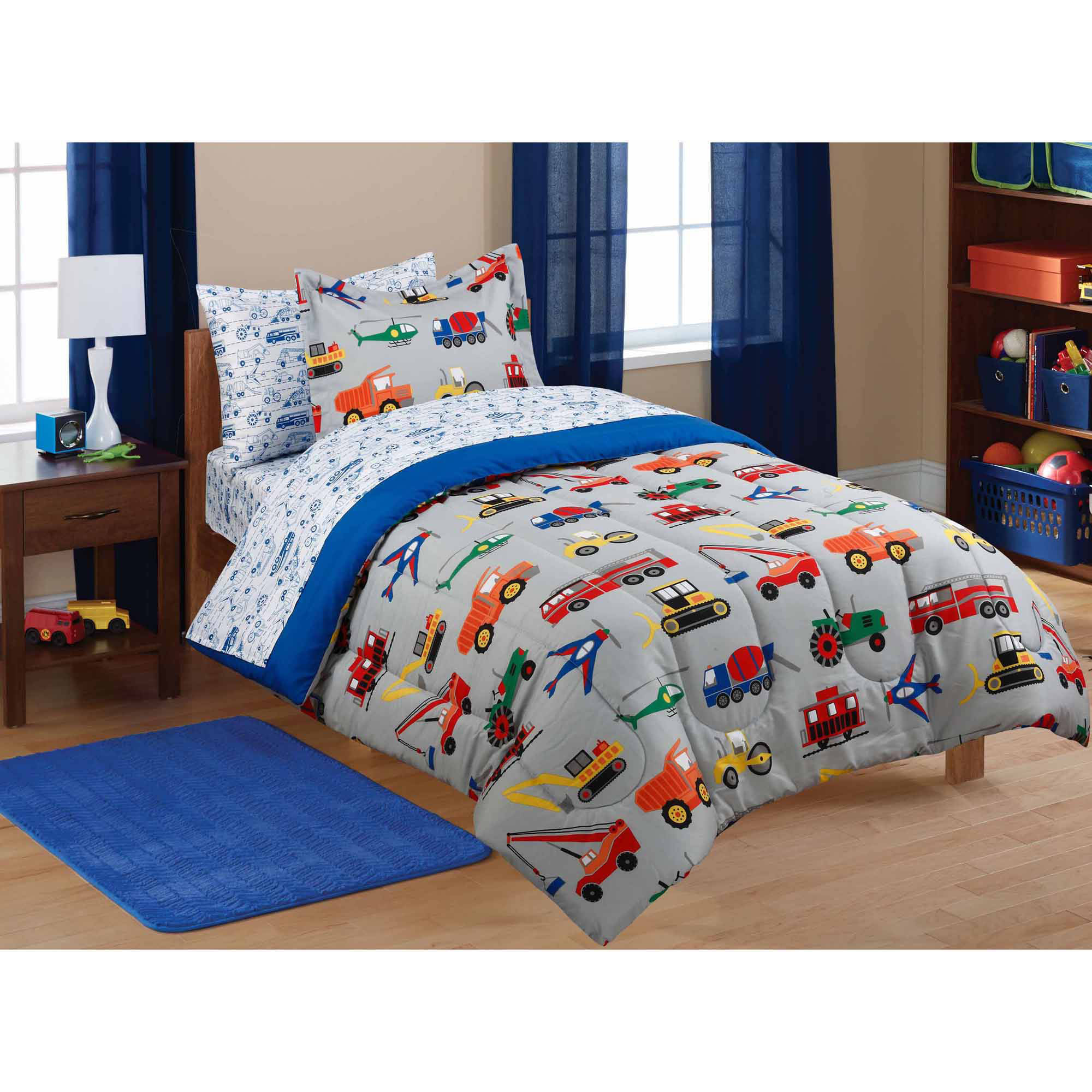 Mainstays Kids Transportation Bed in a Bag Coordinating Bedding Set