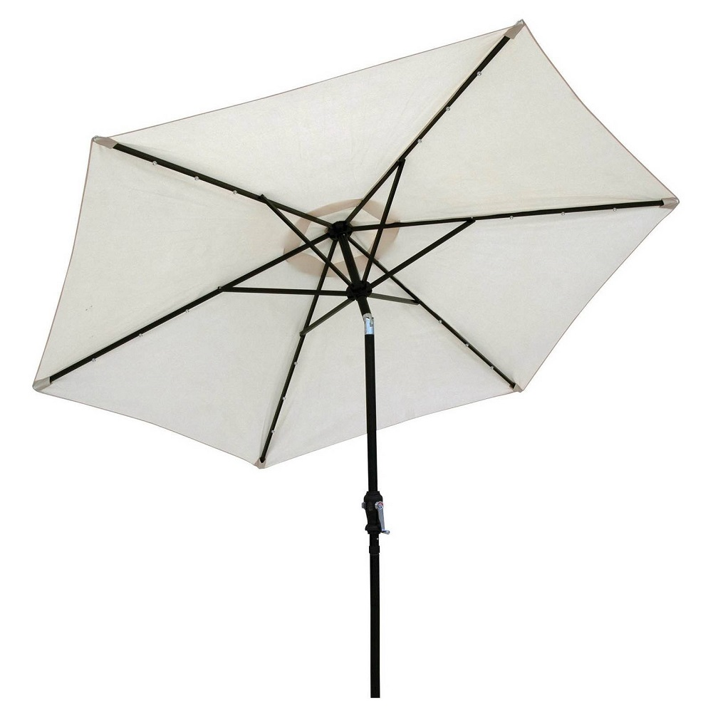 Sun-Ray 9' Solar Lighted Patio Umbrella, Buff Beige by Sun-Ray