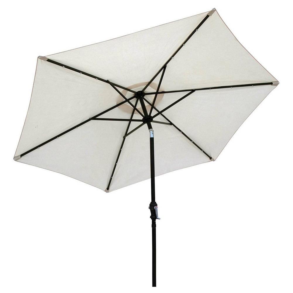 Sun-Ray 9' Solar Lighted Patio Umbrella, Buff Beige by Sun-Ray