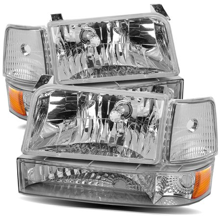 For 92 96 Ford F150 F250 F350 Bronco Chrome Amber Crystal Headlights Corner Per Lamps