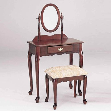 1PerfectChoice Queen Ann 3pc Vanity Makeup Table Mirror Set 1 Drawer Carved A