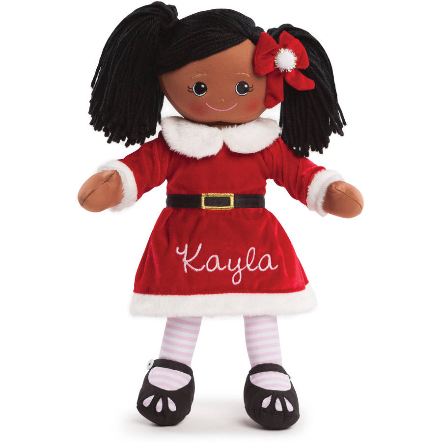 Personalized Rag Doll With Santa Dress, African American