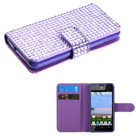 Insten Purple Diamonds Book-Style MyJacket Flip Wallet Case Cover For HUAWEI Ascend Plus H881C](phone cases for huawei h881c)
