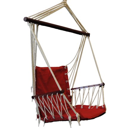 OMNI Patio Swing Seat Hanging Hammock Cotton Rope Chair With Cushion Seat - Red ()