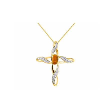 Diamond & Tiger Eye Cross Pendant Necklace Set In Set in 14K Yellow Gold With 18