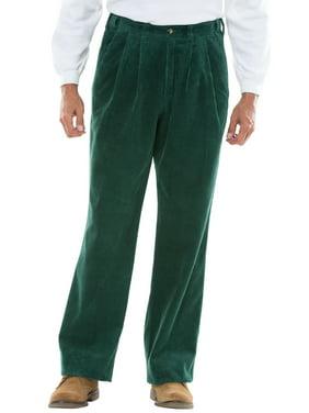 Kingsize Men's Big & Tall Expandable Waist Corduroy Pleat-front Pants Casual Pants