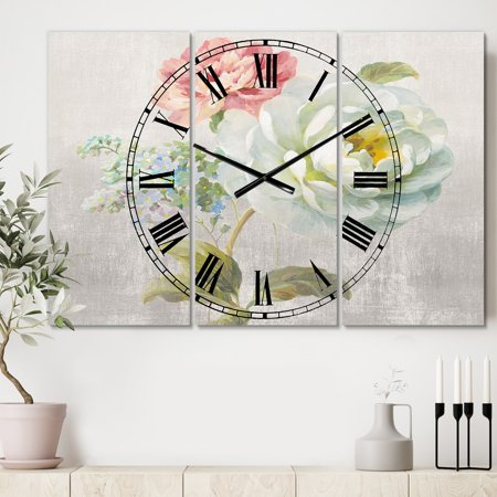 DESIGN ART Designart 'Country Flower Bouquet' Cottage 3 Panels Oversized Wall CLock - 36 in. wide x 28 in. high - 3 - High Three Panel