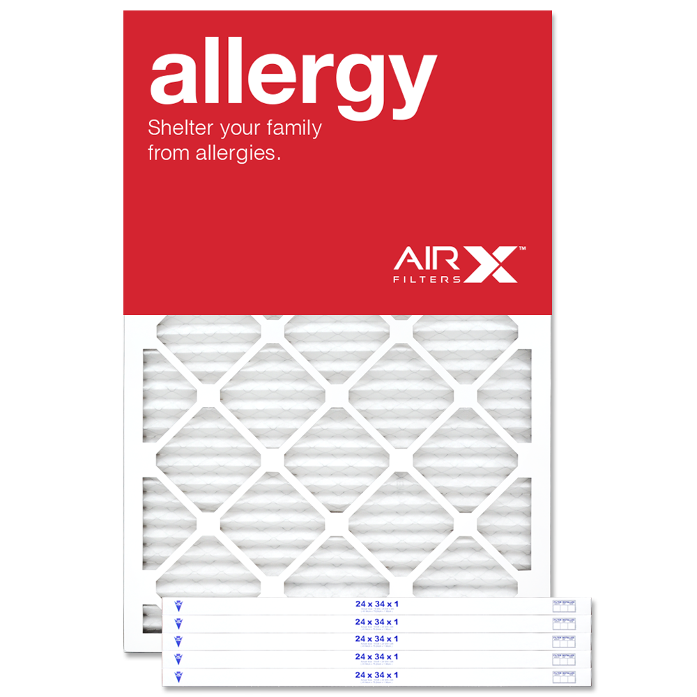 AIRx Filters Allergy 24x34x1 Air Filter MERV 11 AC Furnace Pleated Air Filter Replacement Box of 6, Made in the USA
