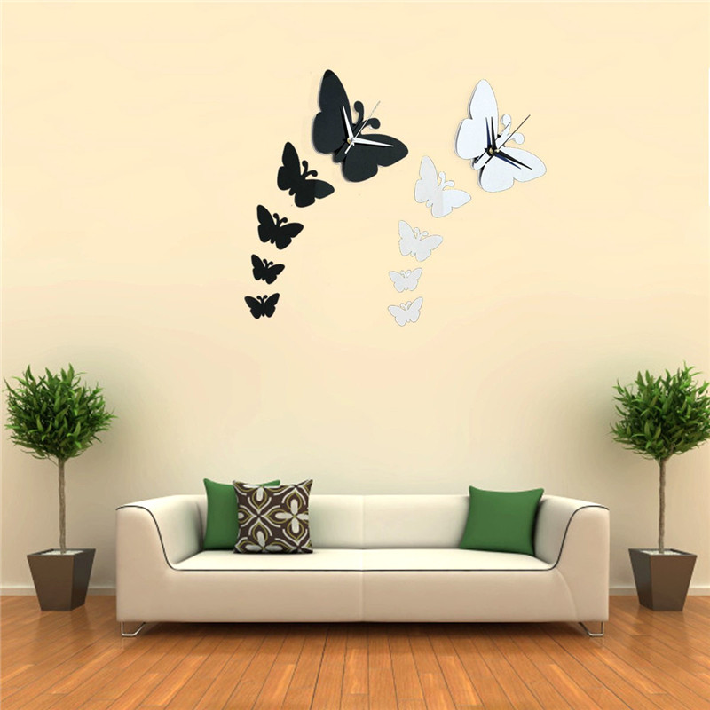 3D Home Decoration Butterflies Wall Clock Stickers Watch Vinyl Art for Bedroom Room Office
