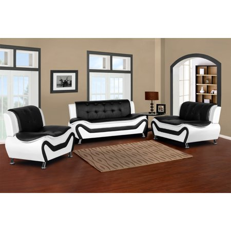 Black And White Living Room Set | Camille 3 Piece Living Room Set Black White Walmart Com
