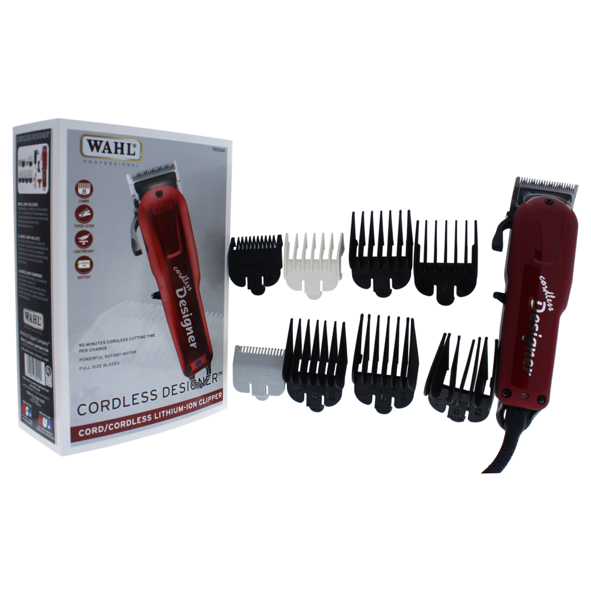 WAHL Professional Cordless Designer Cord/Cordless Lithium-Ion Clipper - Model # 8591 - Red - 1 Pc Clipper