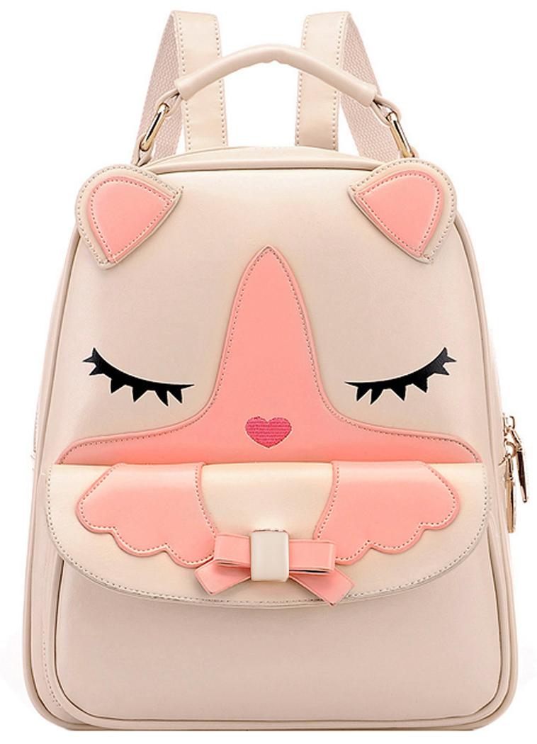 School Backpack, Coofit Cartoon Animal Cute Cat Faux Leather Student Trval Backpack for Teens Girls Knapsack Rucksack (Beige)