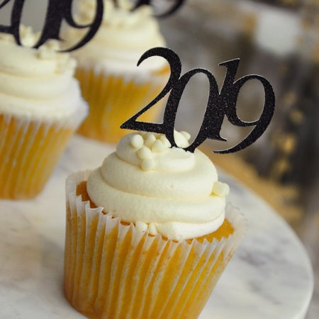Glitter Black 2019 Graduation Cupcake Toppers. (1 Pack of 12 Toppers) Created in 1-3 Business Days. Black Graduation Party - Graduation Cap Cake Topper