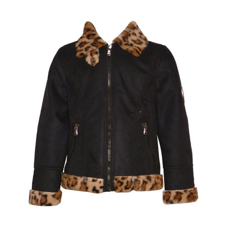 Urban Republic Little Girls Black Leopard Faux Accent Zippered Coat 4-6X - Girls Leopard Coat