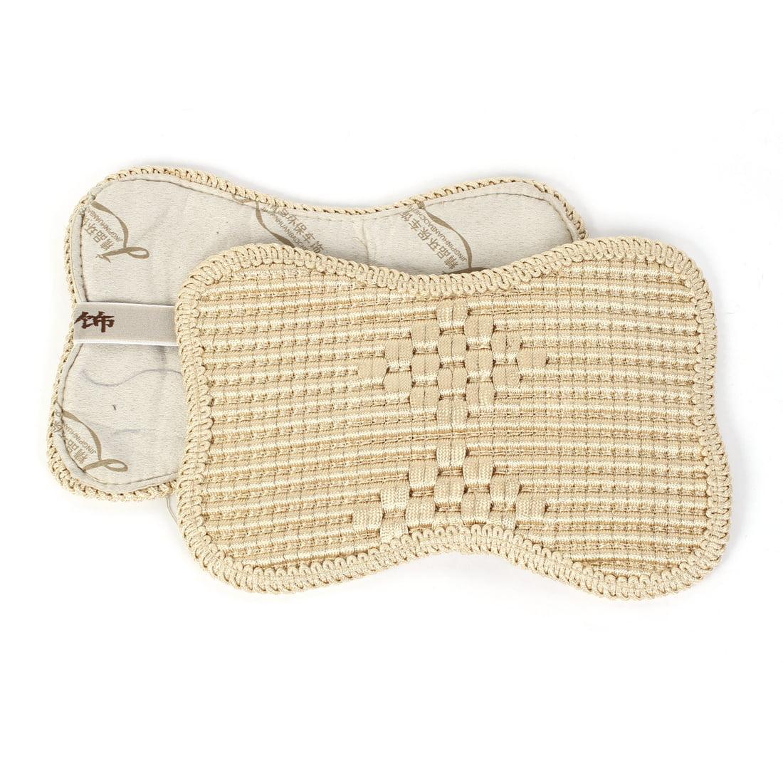 Unique Bargains Pair 31.5cm Long Nylon Fabric Car Neck Rest Pillow Cushion Cover Beige