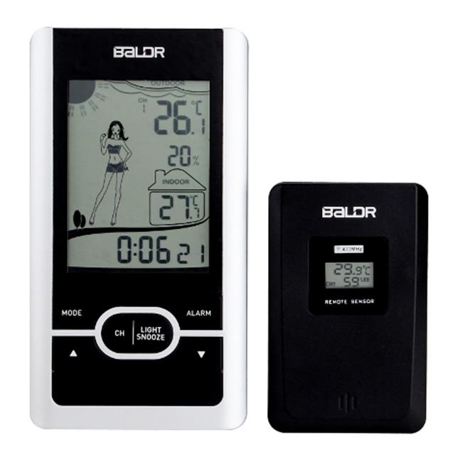 Baldr WS0107BL1 Dress Indicate Thermometer with In & Out Temperature & Alarm Function, Black with Silver Frame