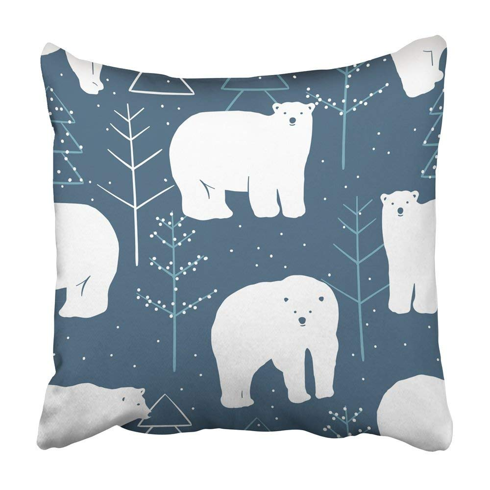 USART Blue Christmas Winter Pattern White Polar Bears Navy Animal Rapport Kids Pillowcase Cushion Cover 18x18 inch