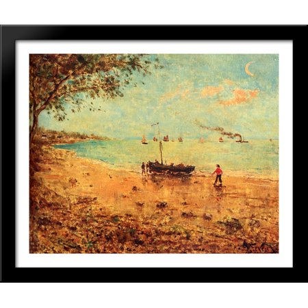 A Beach In Normandy 34x28 Large Black Wood Framed Print Art by Alfred