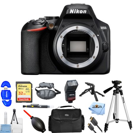 Pro Dslr Body (Nikon D3500 24.2MP Full HD DSLR Camera (Body Only) 33895 Pro Bundle with 32GB SD, Flash, Gadget Bag, Tripods and Much More )