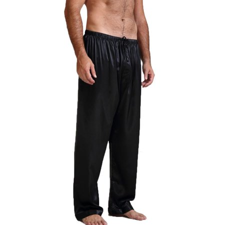Mens Silk Satin Pajamas Pyjamas Pants Sleep Bottoms Nightwear Sleepwear Trousers Black