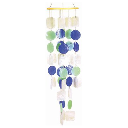 The Crabby Nook Wind Chimes Blue Green White Capiz Shell Round Indoor Outdoor Windchime](Shell Wind Chimes)