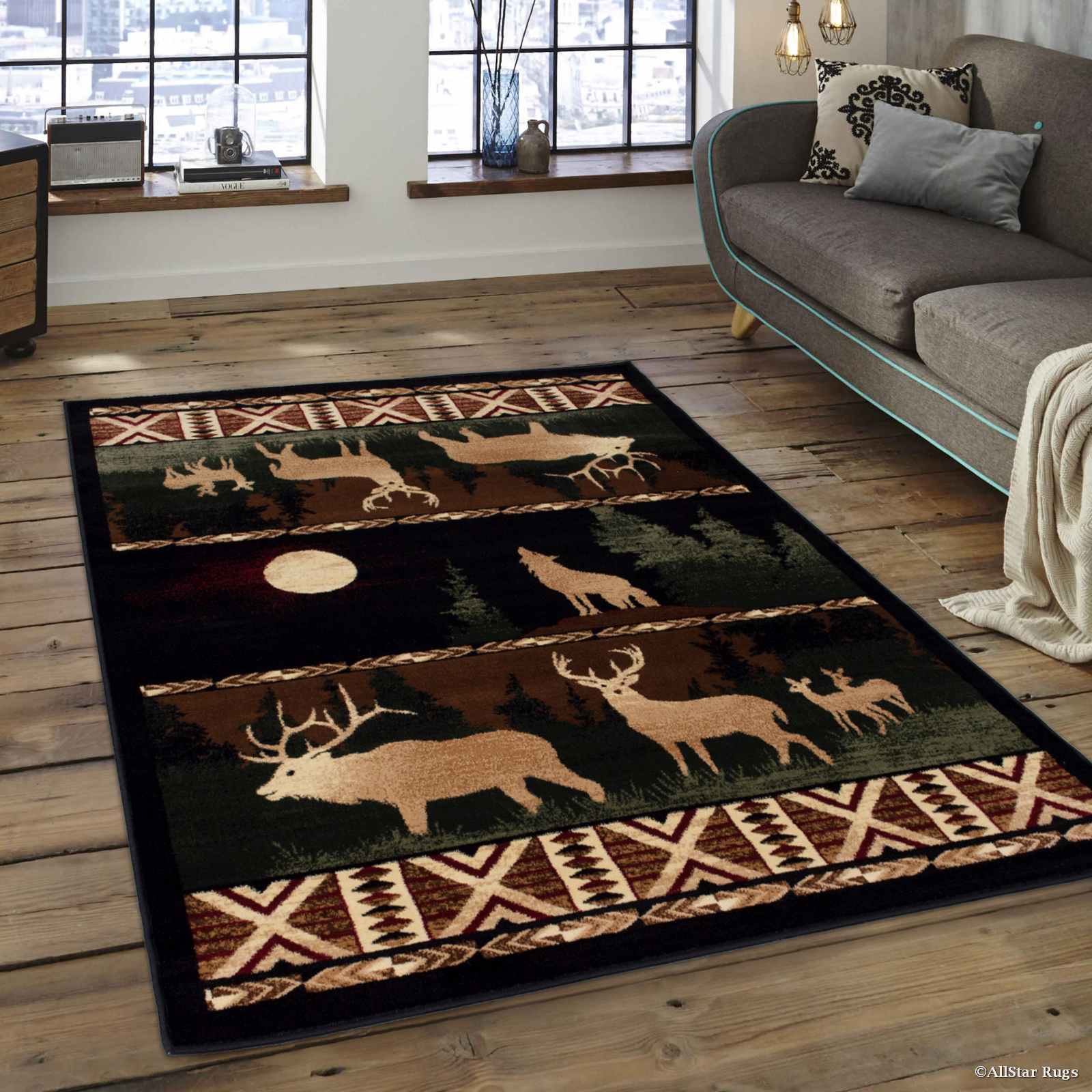 "Brown Cabin with Moose and Bear Prints Acorns Tree Area Rug (7' 7"" x 10' 6"")"