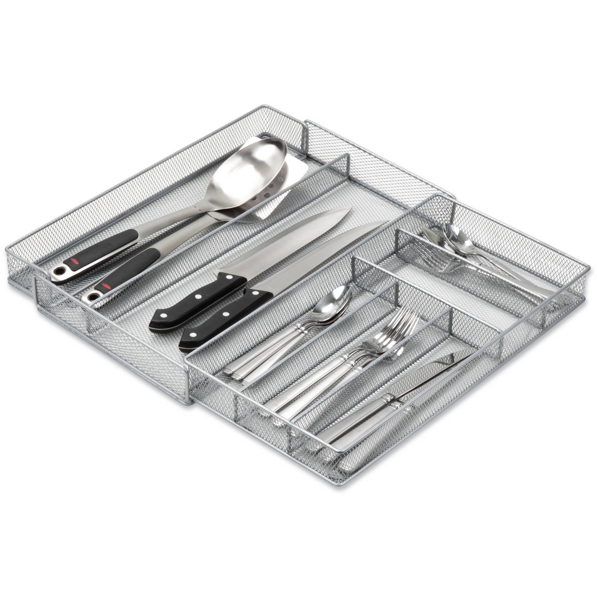 Honey-Can-Do Steel Mesh 7-Compartment Expandable Cutlery and Utensil Organizer Tray
