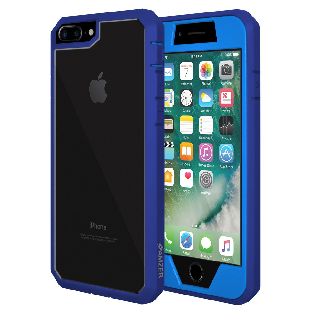 iPhone 8 Plus Case, Hybrid Heavy Duty Shockproof Full Body Case with Built in Screen Protector - Blue for iPhone 8 plus (TPU Bumper, Dust Ports, Gripped Surface)