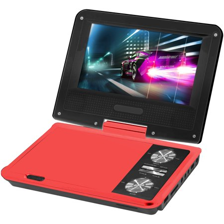 Impecca DVP775R 7 Inch Swivel Portable Dvd Player Red