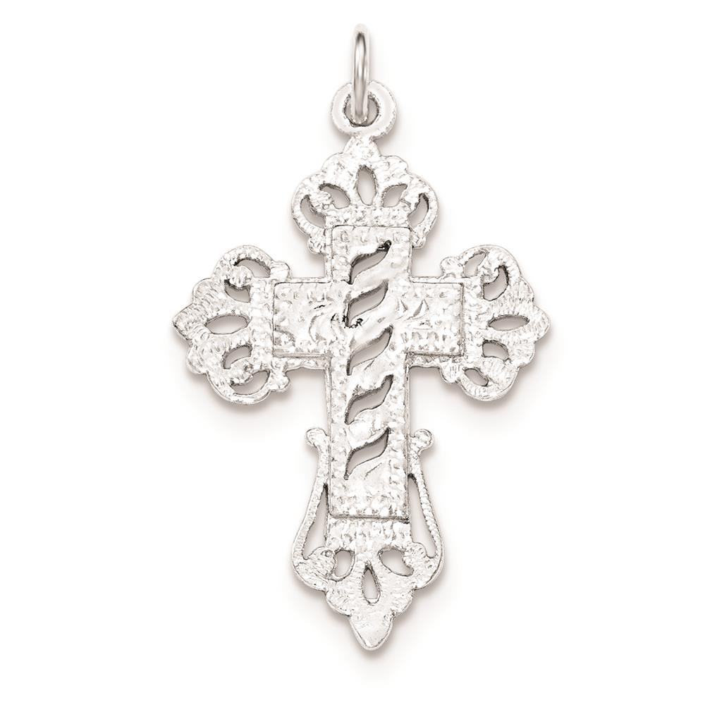 925 Sterling Silver Polished & Textured Designed Edges Cross Charm Pendant