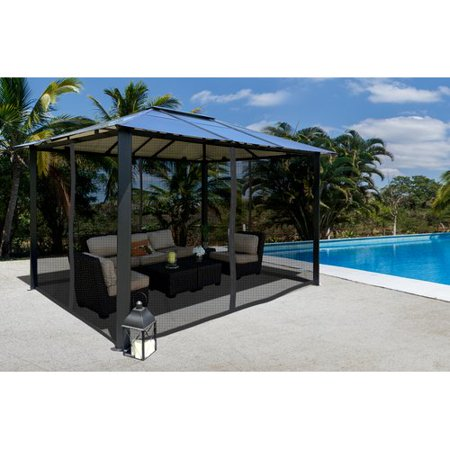Paragon Outdoor Paragon 10 ft. x 13 ft. Aluminum Hard Top Gazebo with Mosquito Netting