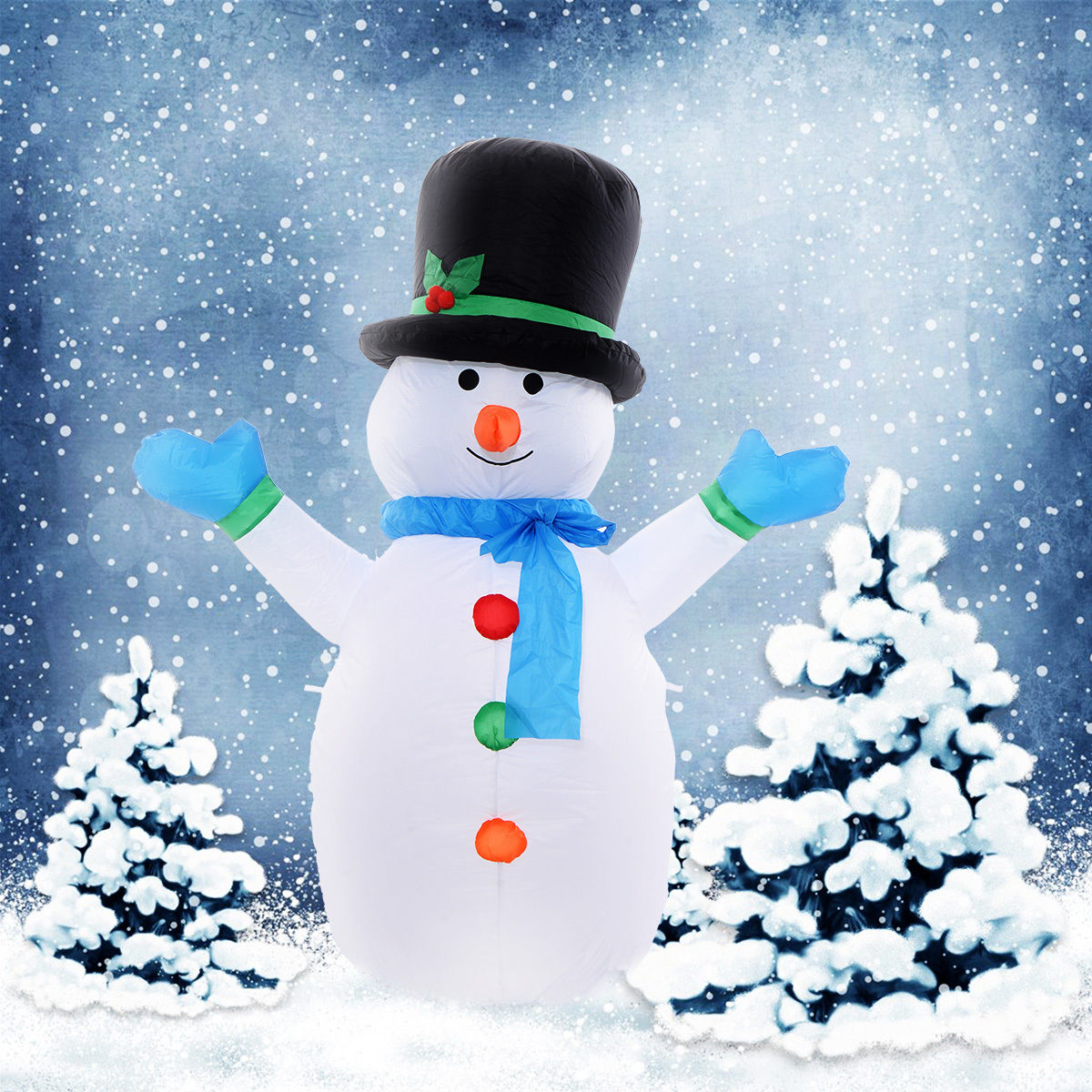 4 inflatable snowman family lighted christmas yard art for Air blown decoration