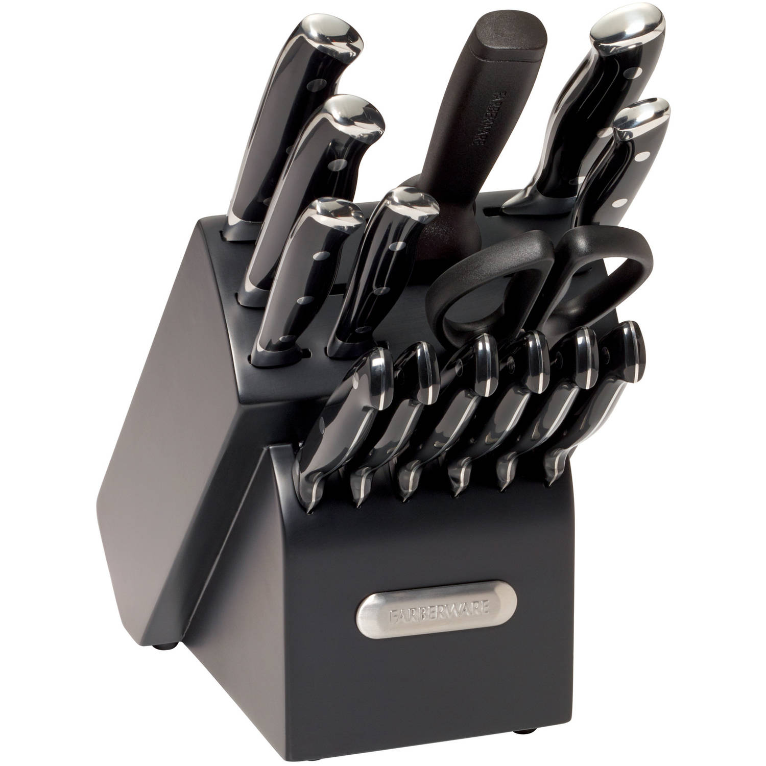 Farberware 15-Piece Forged Triple Riveted Knife Set, Black