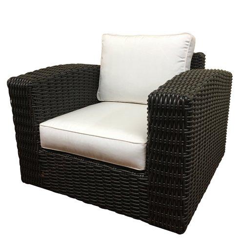 ElanaMar Designs Monaco Outdoor Wicker Swivel Arm Chair with Cushion