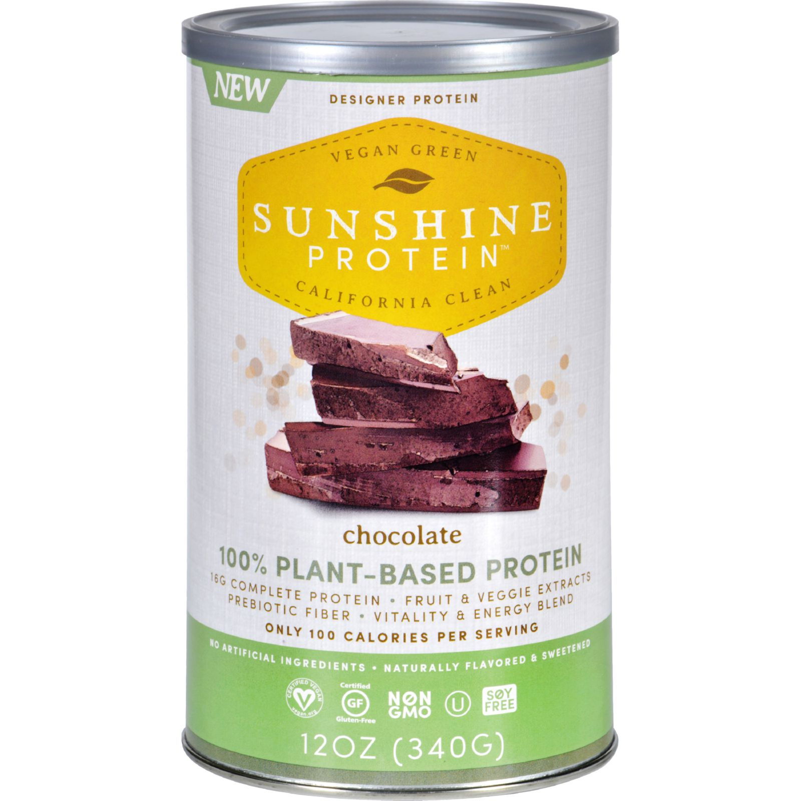 Sunshine Protein Shake Mix - Plant-Based - Chocolate - 12 oz