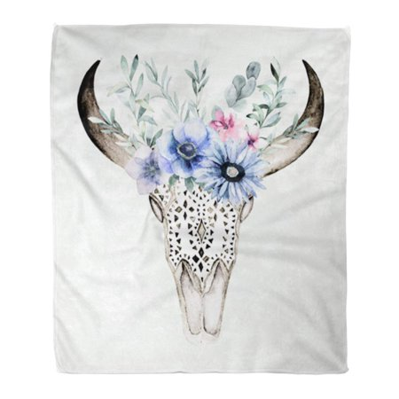 HATIART Throw Blanket Warm Cozy Print Flannel Watercolor Bull's Head with Flowers and Herbal on White Ornamental Skull Comfortable Soft for Bed Sofa and Couch 50x60 Inches - image 1 of 1