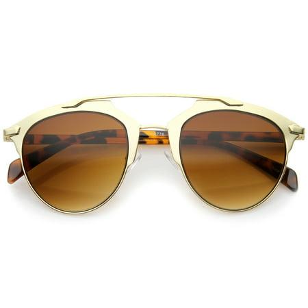 sunglassLA - Modern Fashion Metallic Frame Double Bridge Pantos Aviator Sunglasses - 50mm (Aviator Metallic Sunglasses)