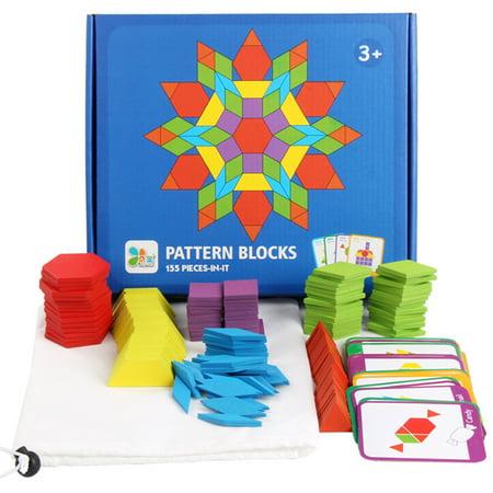 155PCS motif en bois bloc forme géométrique créative puzzle jouet jouet éducatif - image 1 de 10
