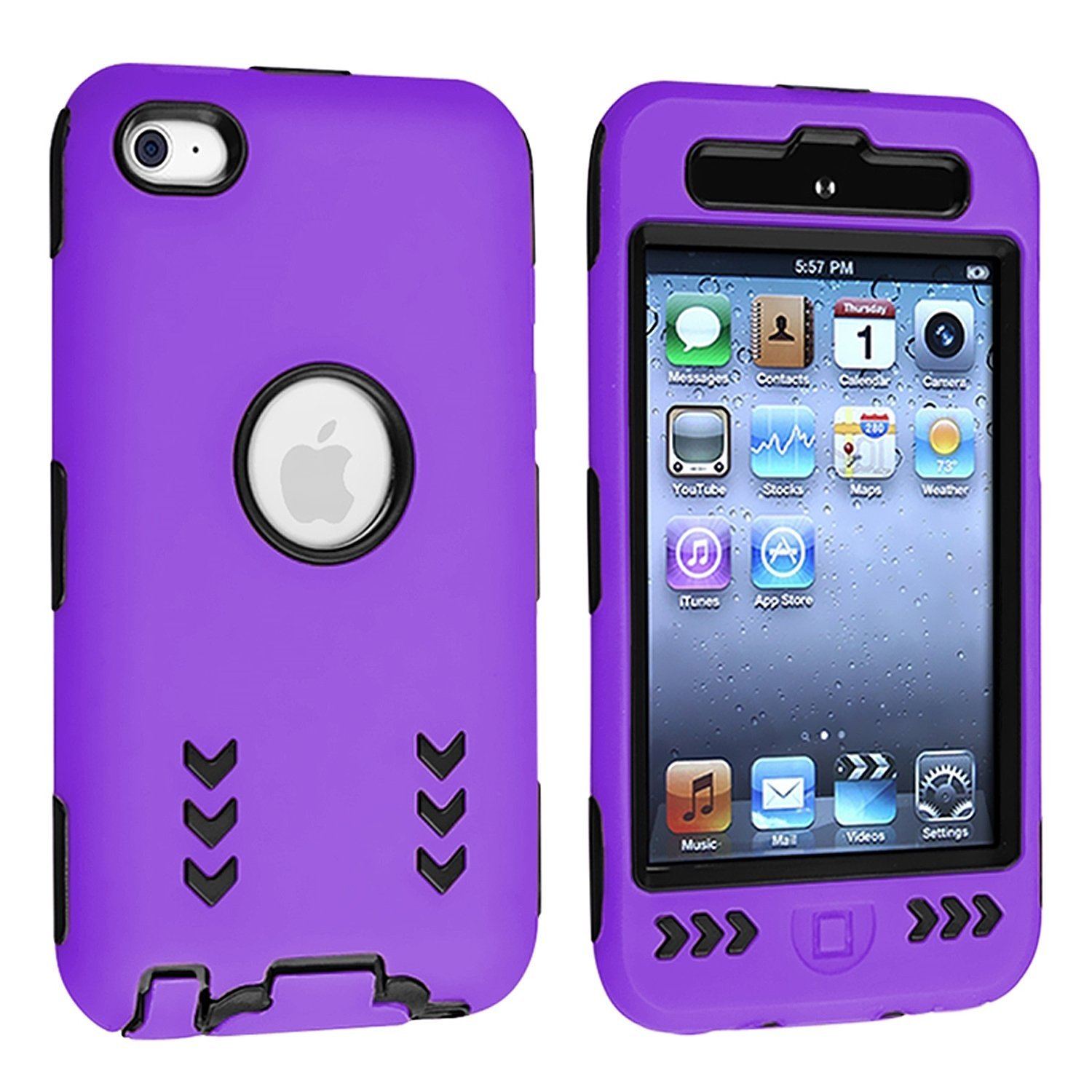 Arrow Hybrid Case for iPod Touch 4th Gen - Black/Purple