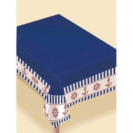 Summer 'Nautical Anchors Aweigh' Flannel-Backed Vinyl Table Cover (1ct) - Nautical Supplies