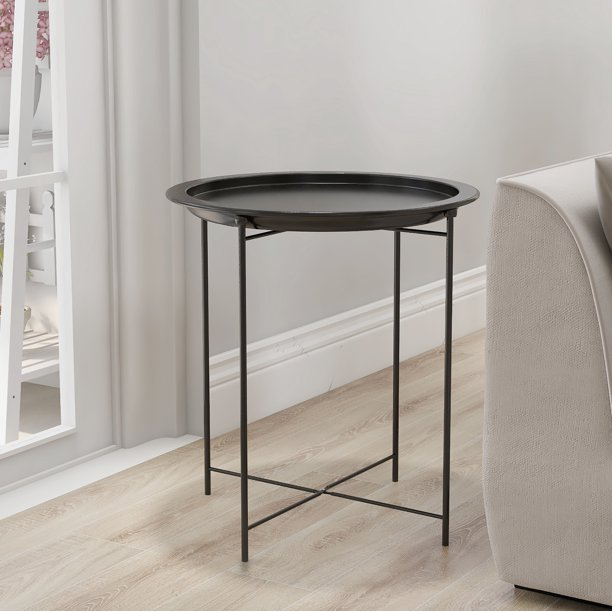 Round Coffee Table For Living Room, Small Tray End Table Indoor Sofa Side Table, Black Coating Metal - Walmart.com - Walmart.com
