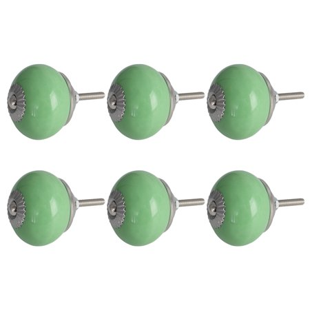 Ceramic Vintage Knob Drawer Round Pull Handle Wardrobe Dresser Door 6pcs Green - image 1 of 8