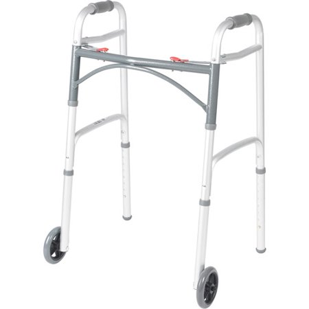 Drive Medical Deluxe Two Button Folding Walker With 5  Wheels