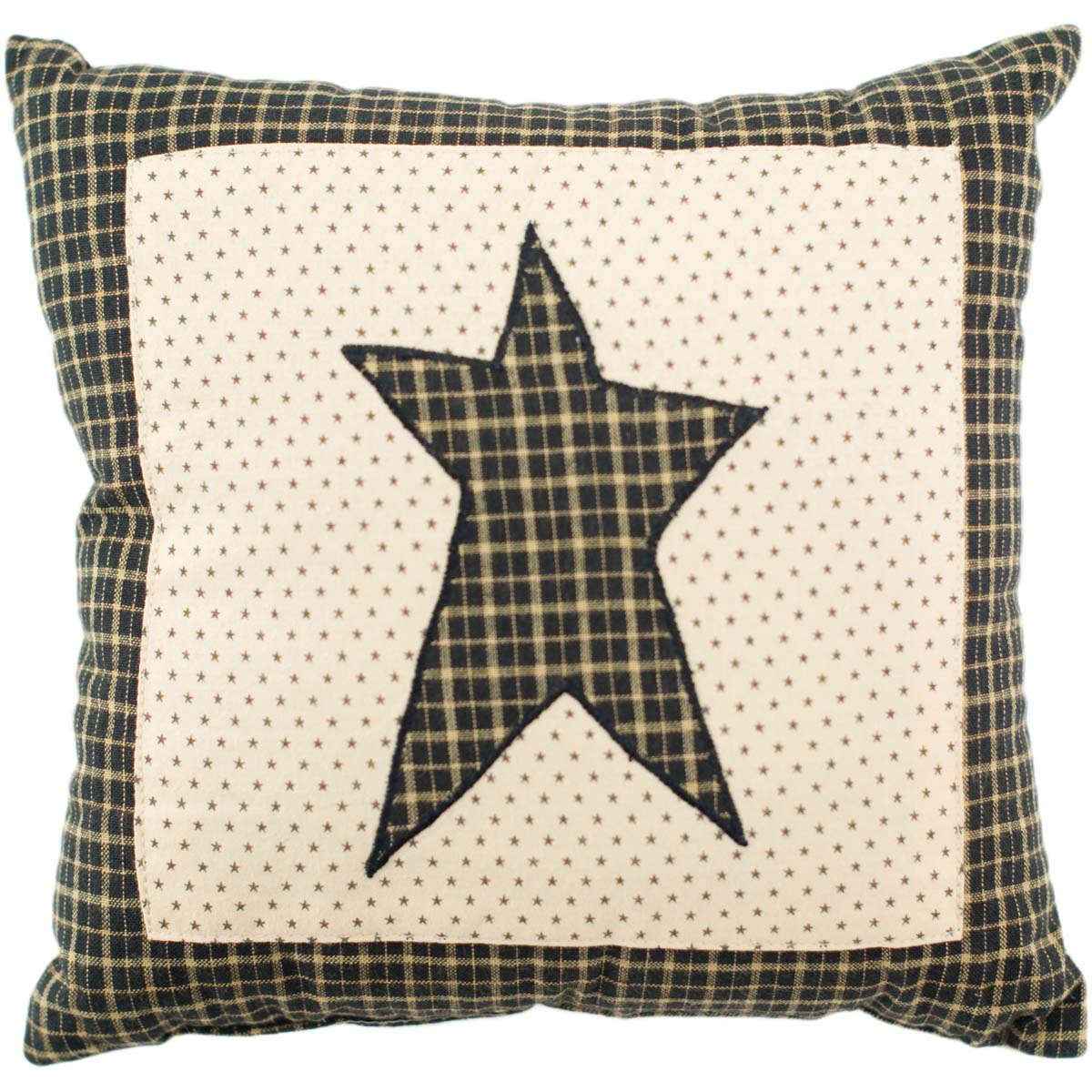 Country Black Primitive Bedding Prim Grove Star Cotton Appliqued Square Pillow